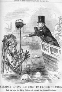 An etching caricature of Faraday giving a filthy Farther Thames a card